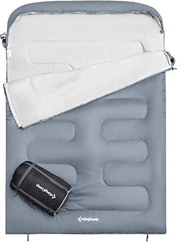 KingCamp Oasis Doppelschlafsack Deckenschlafsäcke mit Kopfteil für 2 Personen 3 Jahreszeiten, Grau, 235 × 160 cm
