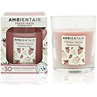 Ambientair. Vela aromática Fresa y Nata. Vela perfumada con cera vegetal y perfume natural con una duración estimada de 30 horas. Disfruta de la aromaterapia en tu casa con esta vela en vaso de cristal.