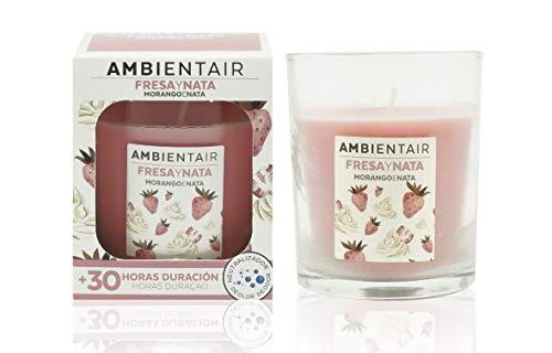 Ambientair. Bougie parfumée à la crème de fraise. Une bougie parfumée à la cire végétale et au parfum naturel dune durée estimée à 30 heures. Profitez de laromathérapie chez vous grâce à cette bougie en verre.