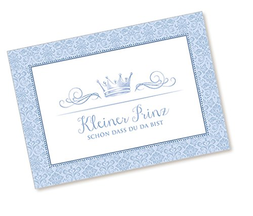 1 Postkarte Babykarte Glückwunschkarte zur Geburt mit KRONE in BLAU •