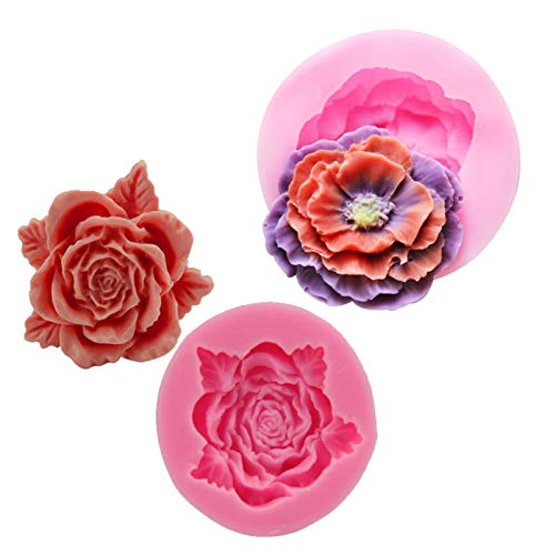 QHMDZ Moldes de Resina Herramientas de Cocina 1-2pcs A Set Rose/Peony Flower Molde de jabón Silicona Candy Resin Crafts Crafts Moldes de Chocolate Fondant Pastel Decoración DIY