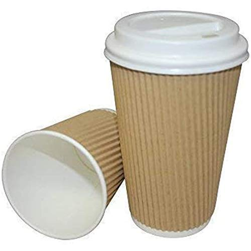 We Can Source It Ltd - 8oz. Brown Kraft Ripple Paper Cups with White Lids - Eco-Friendly 100% Recyclable - Great for Tea, Coffee, Hot Drinks Takeaway - 50 Pack