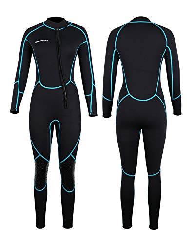 Mens 3mm Shorty Wetsuit Womens, Full Body Diving Suit Front Zip Scuba Diving Wetsuit Snorkeling Surfing (Womens Fullsuit, S)