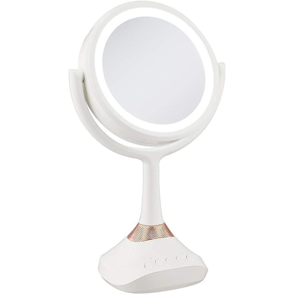 事実上独占貢献するCCYPTD クリエイティブLEDメイクアップミラー両面化粧鏡ポータブルデスクミラーBluetooth音楽多機能ミラー、Bluetooth接続、USBソケット