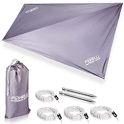 Foxelli Rain Tarp ? Lightweight, Portable, Waterproof 12' Camping Tarp, Easy Set Up with Included Extra Long Guy Lines & Stakes - Perfect Rain Fly for Hammock