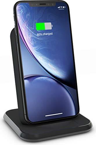 ZENS Qi zertifizierter Aluminium Wireless Charger Stand Schwarz, Unterstützt Fast Wireless Charging mit bis zu 10Watt, USB Anschluss für weitere Geräte, Kompatibel mit allen Qi-fähigen Telefonen