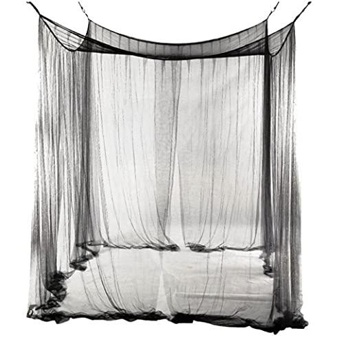 Berrywho Myggnät Bed Canopy Fyrdörrars Hängande Säng Square Nät Curtain Med Hängande Kit Enkel Installation Black