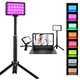 RGB LED Video Light, Video Conference Lighting Kit with Portable Tripod Stand, 8500K Continuous Photography Lighting for Photoshoot, LED On Camera Light for Video Recording Zoom Meeting Backlight