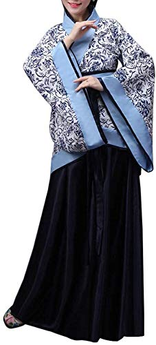 Chinese Klederdracht Jurken - Hanfu Elegant Retro Tang Suit Performances oude klassieke Costume Stage Dress for Women Dansen Chaise (Color : Darkblue, Size : UK 2XL=Tag 3XL)