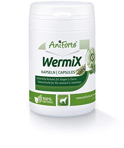 AniForte WermiX für Hunde 50 Kapseln I Naturprodukt mit Salbei, Walnuss, Petersilie, Wermut, Kräuter harmonisieren Magen & Darm I Made in Germany