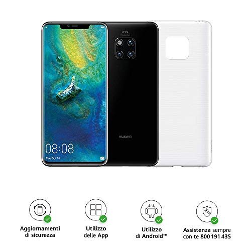 "Huawei Mate 20 Pro (Black) più Cover Originale, Telefono con 128 GB, Display Oled 6.39"" QHD+, Processore Octa Core dinamico con Intelligenza Artificiale [Versione Italiana]"