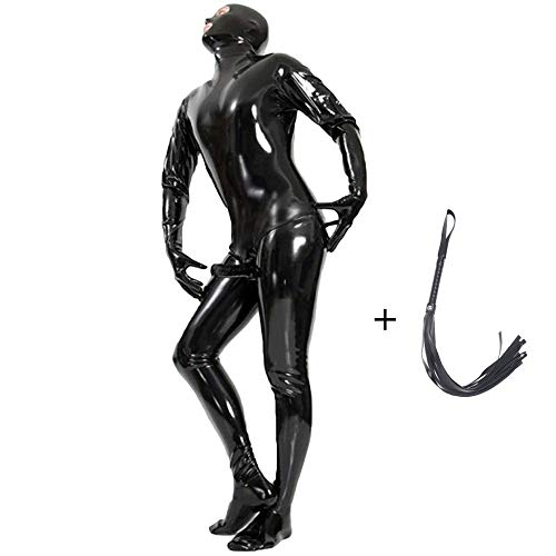 Zakjj Latex Catsuit Men Latex Rubber Catsuit Patent Leather Classic Catsuits Model HY 529 Black,XXL-Basicvers