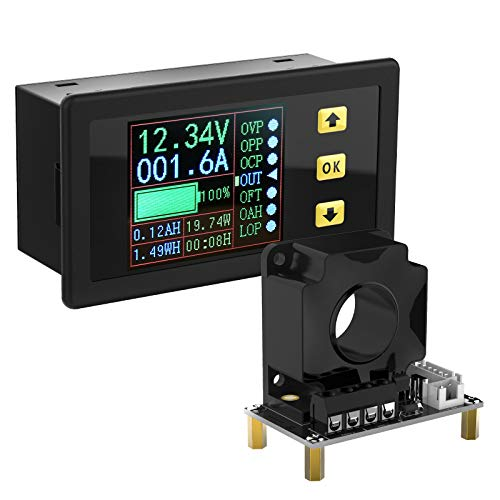 Charge-Discharge Monitor, DROK 0-90V 100A DC Ammeter Voltmeter, Battery Capacity Amp-Hour Watt-Hour Power Time Multimeter, LCD Display Digital Voltage Current AH WH Watt Meter Tester with Hall Sensor