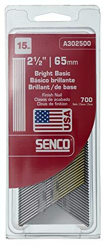 Senco A302500 15-Gauge x 2-1/2 Inch Bright Basic Finish Nail