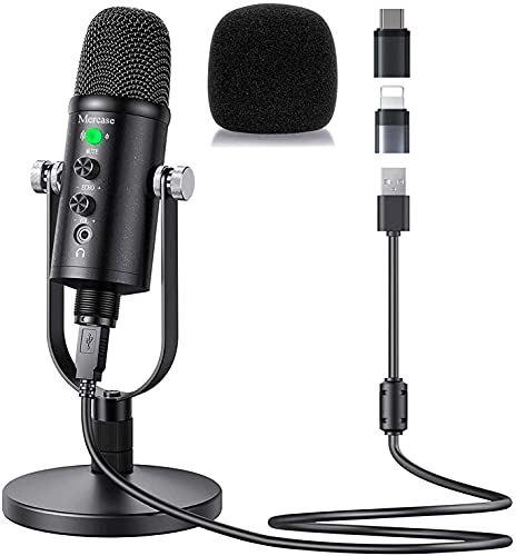 Mercase USB Condenser Microphone Compatible with PC/MAC/Ps4/iPhone/iPad/Android,Computer Mic with Noise Cancelling & Reverb, Studio Microphone for Voice and Music Recording,Podcasting,Streaming,Gaming