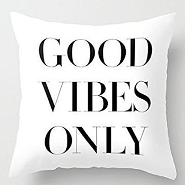 BabysSJ Good Vibes Only Pillow Covers Decorative 18 X 18 Valentines Day Gifts For Girls