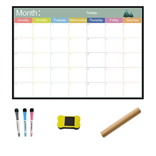 Yaootely Pizarra MagnéTica Calendario Horario Semanal Mensual ImáN Calendario Planificador Dibujo Refrigerador Etiquetas Engomadas Oficina Hogar Uso Memo
