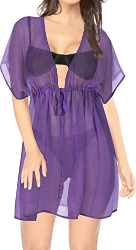 LA LEELA encubrimientos Kimono para Las Mujeres del Traje de baño Scary Morado_Y453 ES TAMAÑO: 42 (L) - 50 (2XL)