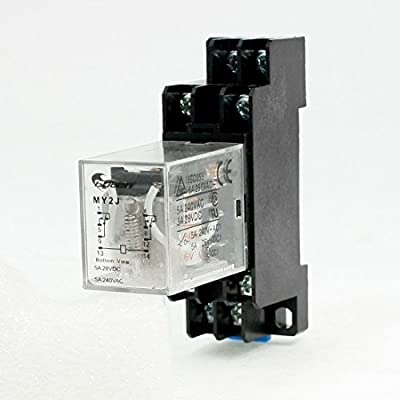 DealMux DPDT 8 Pin 5 Amp 240VAC/28VDC MY2J AC 6V Coil General Purpose Relay with Socket Base