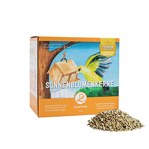 Plantura Sonnenblumenkerne mit extra Vitaminen, geschält, Wildvogelfutter, 5kg