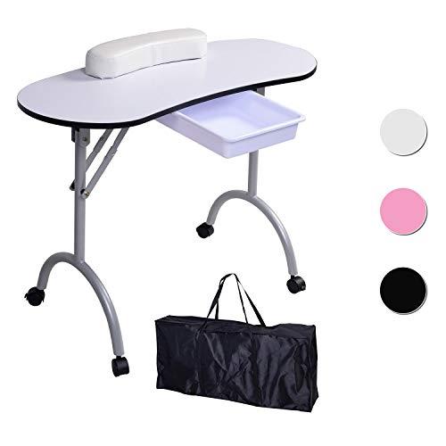 Mesa para manicura Plegable, con cajón y Bolsa de Transporte - 9,5 KG - 98 x 44 x 77 cm - Blanco