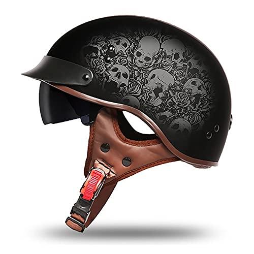 Letetexi ECE Homologado Retro Casco Jet, Casco Moto Abierto con Visera, Ligero Y Cómodo Half-Helmet, para Adultos Hombre y Mujer, para Street Bike Cruiser Chopper Moped Scooter (57~64CM)