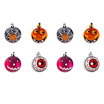 Amosfun Halloween Wreath Ball Shatterproof Hanging Ornaments Scary Eyeball Pumpkin Ghost Drops Decorations 8Pcs  Random Style