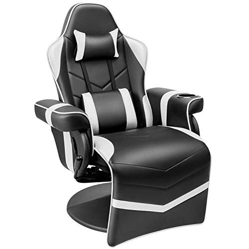 Homall Gaming Recliner Chair Racing Style PU Leather Gaming Chair Ergonomic Adjusted Reclining Office Desk Chair Home Theater Single Sofa Chair with Footrest Headrest and Lumbar Support (White)