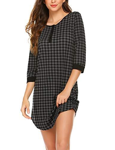 Ekouaer Women's Nightgown Plaid Sleep Dress Comfy Sleepwear Pajama Dress Nightshirt
