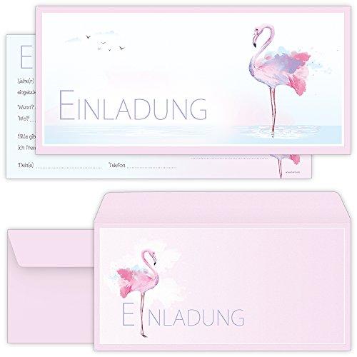 beriluDesign Flamingo Einladungskarten mit Umschlägen (12er Set) zum Geburtstag Kinder Erwachsene Geburtstag-Einladungen Karten Feier Party Mädchen