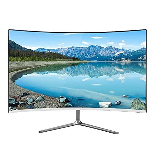 Monitor de juegos sin marco curvo de 24 pulgadas, Monitor de computadora FHD 1080p IPS, Panel 2800R MVA, Frecuencia de actualización de 75 HZ,Ángulo de visión amplio de 178 °,Luz anti-azul ,HDMI y V