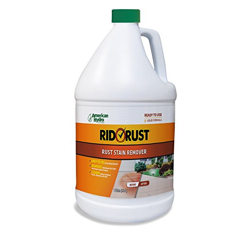 Rid O' Rust Liquid Rust Stain Remover and Calcium Cleaner Concentrate. Remove Rust Stains from Decks, Fences, Boats, Concrete, and More - 1 Gallon (Pack of 4)