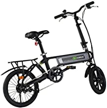 Goplus Folding Electric Bicycle Lightweight Portable Sport Bike Lithium Battery W/Two Speed Electronic Transmission System