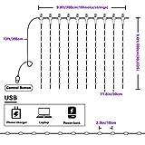 Fulighture LED Lichtervorhang,3M * 3M 300 LEDs USB Lichtervorhang mit Fernbedienung,IP67 Wasserfest,Bunt,8 Modi Lichterkettenvorhang für Weihnachten Party, Innen und außen Deko [Energieklasse A+] - 2