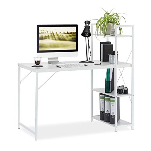 Relaxdays, 121 x 120 x 62 cm, Blanco Escritorio & Estantería, Cuatro estantes, Mueble Moderno, DM-Metal