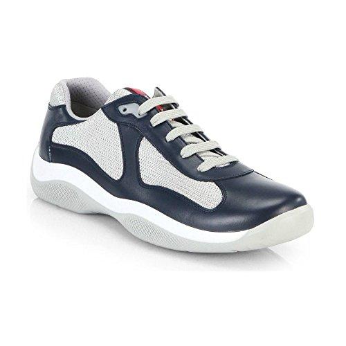 Prada, scarpe da ginnastica in pelle dell' America's Cup, in mesh blu navy, Blu (Blue), 41 EU