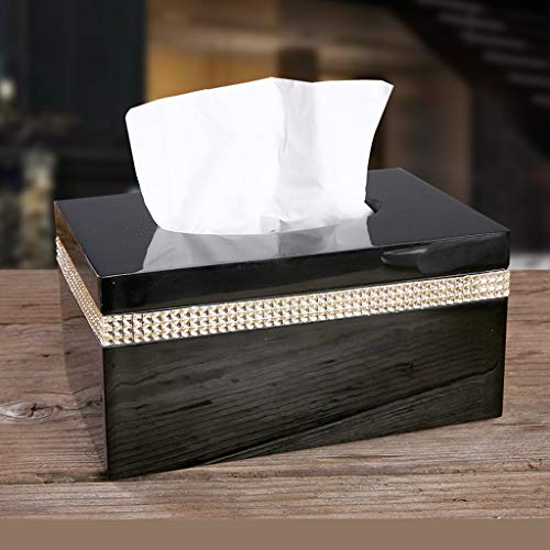 UCYG Tissue Box Slaapkamer Badkamer Nordic Tissue Box Creatieve Home Lade Woonkamer Servet Lade Eenvoudige Koffie Tafel Opbergdoos (Kleur : Wit Zwart)