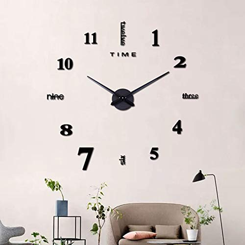MOMOJIJI Reloj de Pared 3D DIY Moda Reloj de Etiqueta de Pared Decoración,Reloj de Pared Adhesivos 100 cm,Reloj de Pared Digital,Sin Marco,Tamaño Grande,Deal para Bar, Club, Oficina o Salón (Negro)