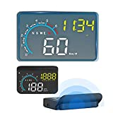 Car Head Up Display,FSVEYL Upgraded Dual Mode HUD OBD II/GPS with Speed,Engine RPM,Overspeed Warning,Mileage Measurement,Water Temperature,Voltage,Direction Functions Suitable for All Vehicles (M12)