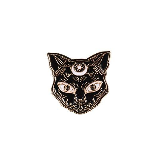 JWGD Modische schwarze und dunkle Brosche mit niedlicher Katze und Adler, Emaille, Anstecknadel für Jacken, Fledermaus, Schmuck für Damen und Kinder (Metallfarbe: Katzenkopf)