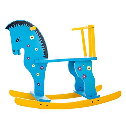 Rocking Horse chaise berçante en bois massif de 1-5 ans bébé enfant jouet cadeau installation facile -LI JING SHOP (Couleur : Blue)