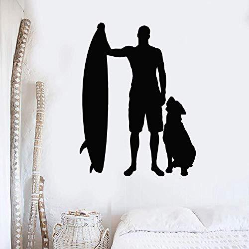 Vinilo adhesivo decorativo para pared, diseño de silueta de tabla de surf, perro, playa, dormitorio, sala de estar, decoración del hogar, 57 x 75 cm