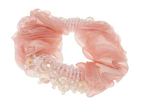 Mesdames filles perles en mousseline de soie cheveux Chouchou élastique de Vieux Rose