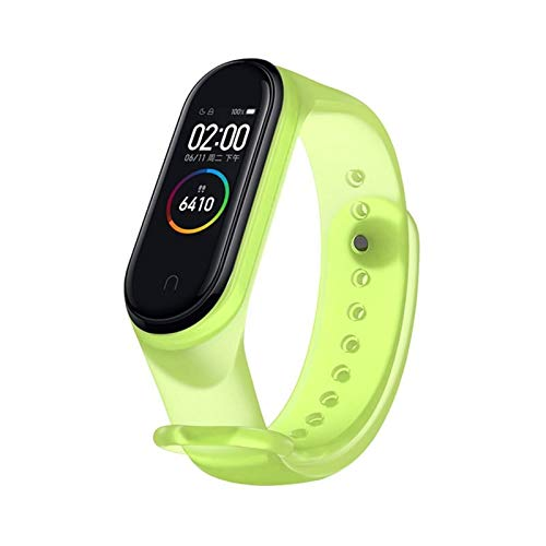 DALIANMAO Banda de Reloj para MI 5 4 Strap Transparent Silicone Muñequera Correas para MI 3 5 Pulsera del Deporte (Color : Transparent Green, Size : For 5)