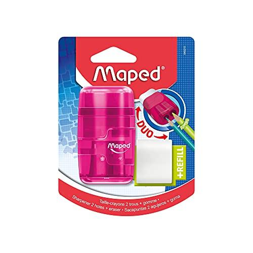 Apontador com Borracha, Maped, Connect Translúcido mais refil, 049210, Cores Sortidas