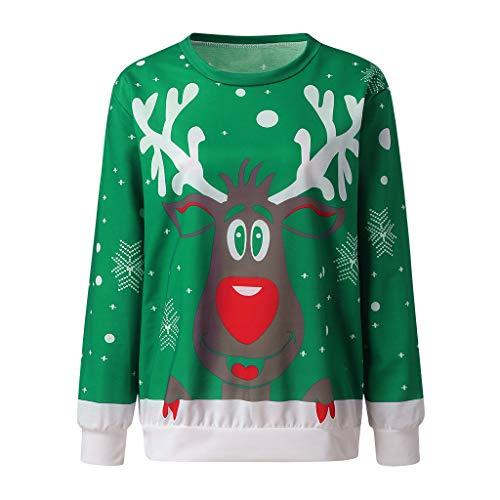 Mujer Jersey Sudaderas Navidad Casual Camisa Navideña Estampada de Reno Blusa Cómodo Pullover Caliente Suéter Ropa de Invierno Tops Fannyfuny