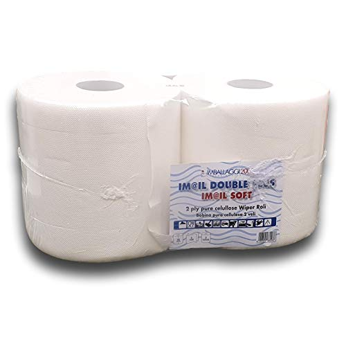 IMBALLAGGI 2000-2 Rotoloni Carta Asciugatutto Industriale - 800 Strappi - Ideale per Uso Alimentare e Compatibile con Dispenser - 1 Confezione da 2 Rotoli