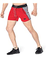 BROKIG ジップランニングショートパンツ メンズ 5インチショーツ 吸汗速乾 トレーニング短パン ジムウェア ポケット付き