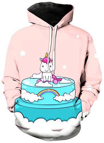 Ocean Plus Mädchen Kapuzenpullover Einhorn Flamingo Hoodie Geburtstag Sweatshirt mit Kapuze Ananas Girls Kinder Kapuzensweatshirt (M (Körpergröße: 115-125 cm), Einhorn Baby auf dem Kuchen)