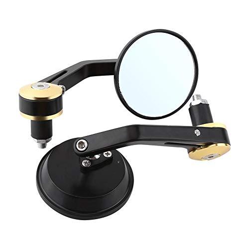 Motorfietsspiegel, achteruitkijkspiegel, rond, draaibare flexibele reflecterende spiegels, 1 paar default goud